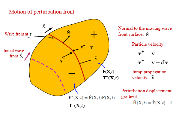 Propagation of the Wave Front (Jump) in a Deforming and Relaxing Viscoelastic Body.